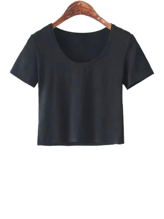 lady Scoop Neck Solid Color T-Shirt - BLACK ONE SIZE(FIT SIZE XS TO M)