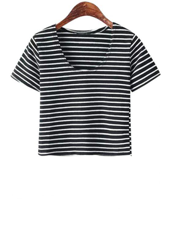 outfit Scoop Neck Solid Color T-Shirt - STRIPE ONE SIZE(FIT SIZE XS TO M)