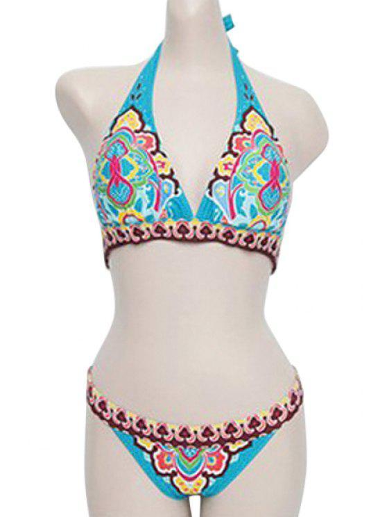 outfit Blue Ethnic Print Halter Bikini Set - BLUE M