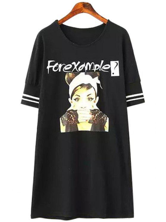 trendy Letter Girl Print Short Sleeve T-Shirt - BLACK M