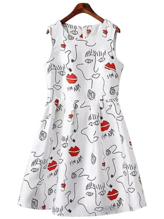 online Lips Print Ruffle Sleeveless Dress - WHITE S