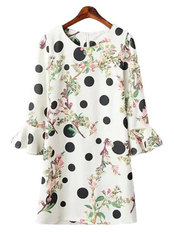 shops Polka Dot Leaves Print Dress - WHITE ONE SIZE(FIT SIZE XS TO M)