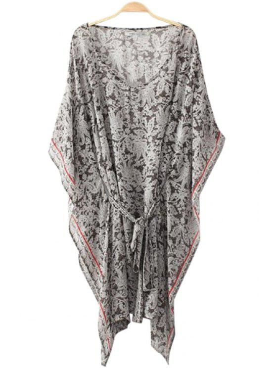 ladies Print Tie-Up Batwing Dress - WHITE AND BLACK M