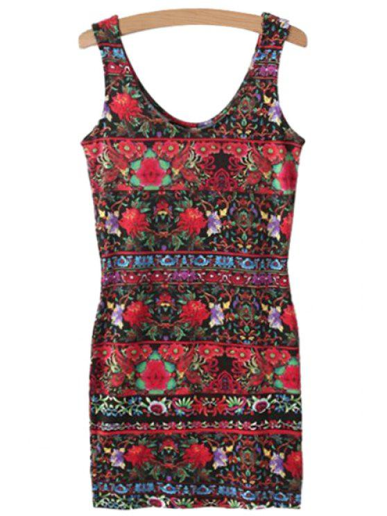latest Color Block Floral Print Sleeveless Dress - COLORMIX S