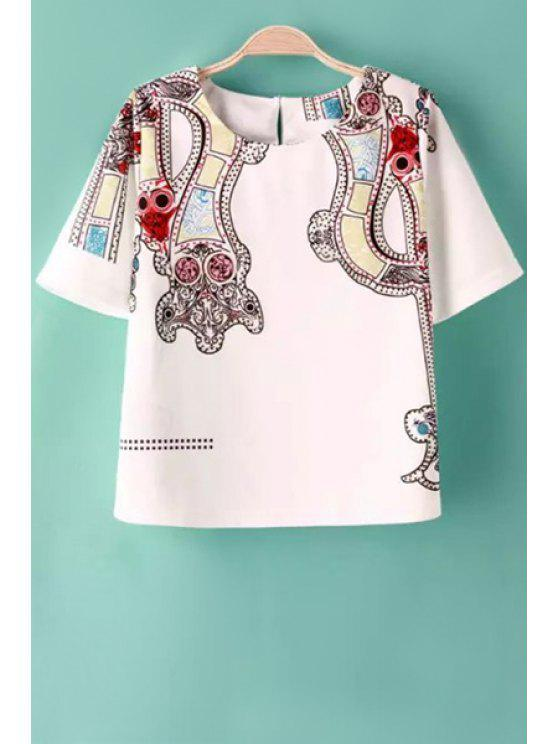 buy Color Block Print Short Sleeve T-Shirt - WHITE S