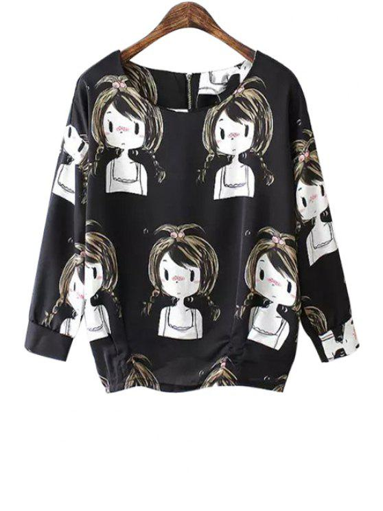 women's Girl Print 3/4 Sleeve T-Shirt - BLACK S