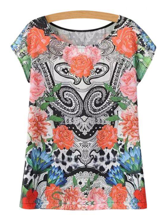 hot Paisley Floral Print Short Sleeve T-Shirt - COLORMIX S