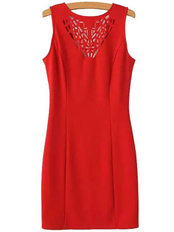 new Openwork Solid Color Sleeveless Dress - RED S