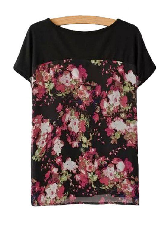 shop Floral Print Splicing Short Sleeve T-Shirt - BLACK S