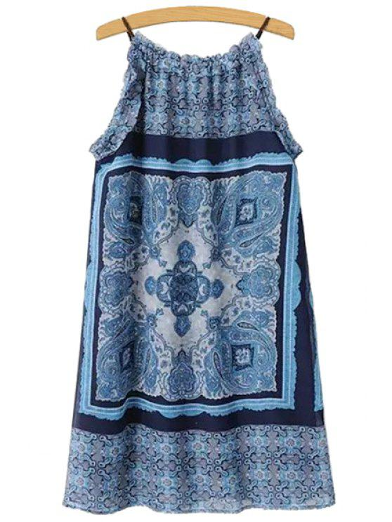 chic Spaghetti Strap Print Ruffle Dress - BLUE S