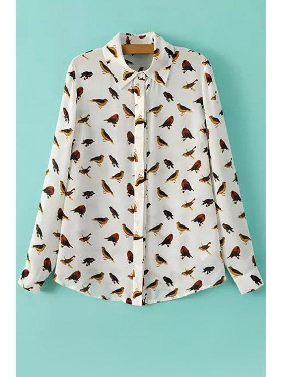 shop Bird Print Long Sleeve Shirt - WHITE S
