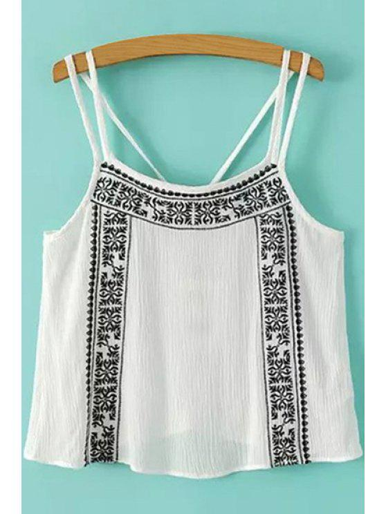 women's Embroidery Ruffle Sleeveless Tank Top - WHITE AND BLACK S