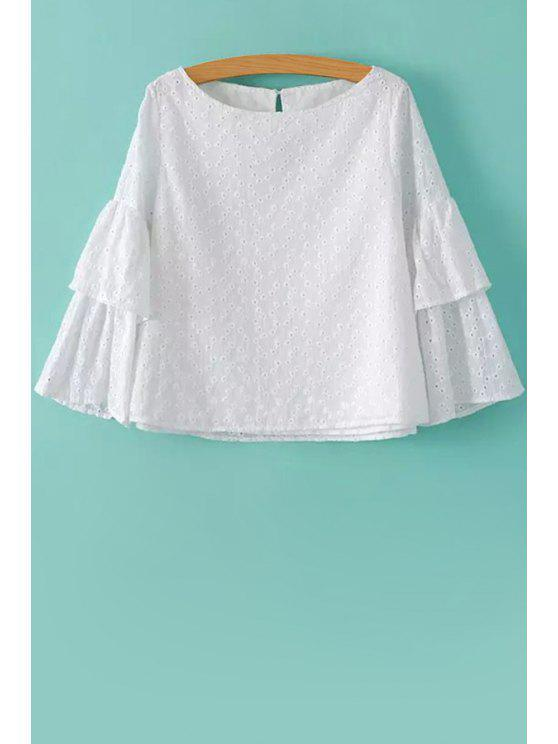 chic Solid Color Openwork Double-Deck Shirt - WHITE S