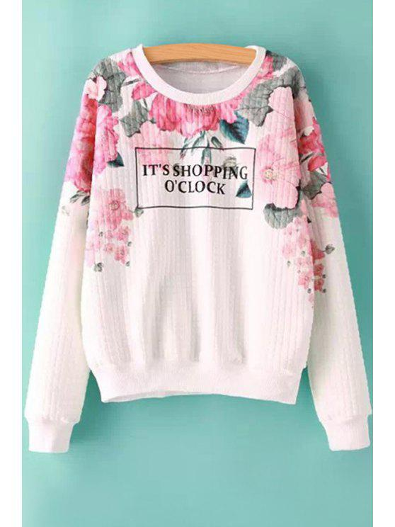 womens Floral Letter Print Long Sleeve Sweatshirt - RED WITH WHITE S