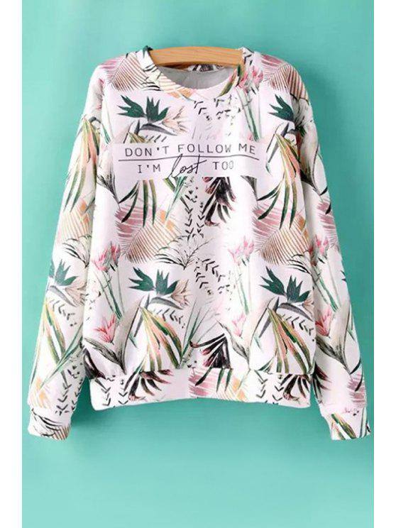 chic Letter Leaves Print Long Sleeve Sweatshirt - COLORMIX S