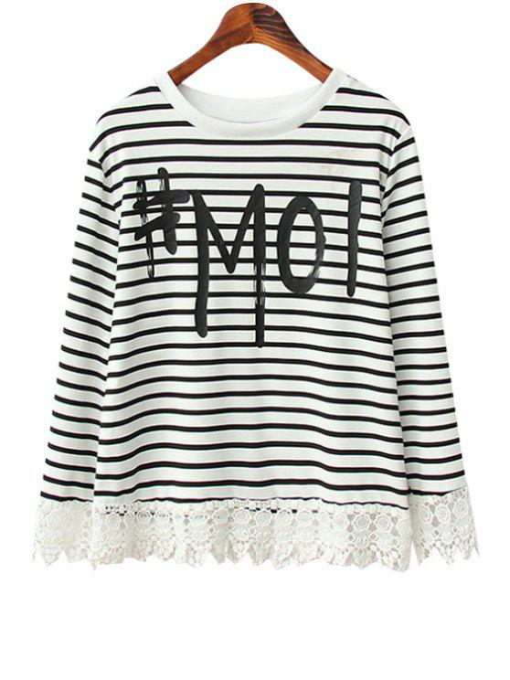 lady Letter Print Stripe Lace Splicing T-Shirt - WHITE AND BLACK S