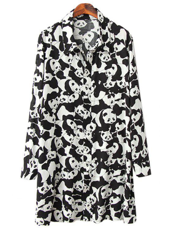 trendy Pandas Print Long Sleeve Shirt - WHITE AND BLACK L