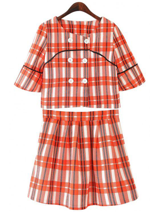 b30af787393 Plaid Double-Breasted Blouse + Zipper Fly Skirt RED  Two-Piece ...