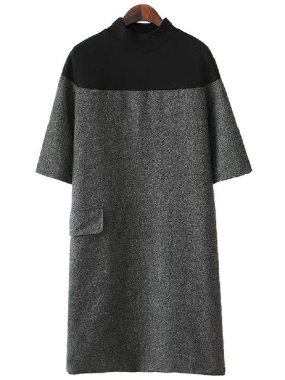 women Color Block Slit Short Sleeve Dress - GRAY M