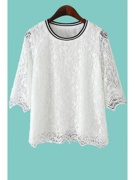 lady Openwork Lace Half Sleeve Shirt - WHITE S