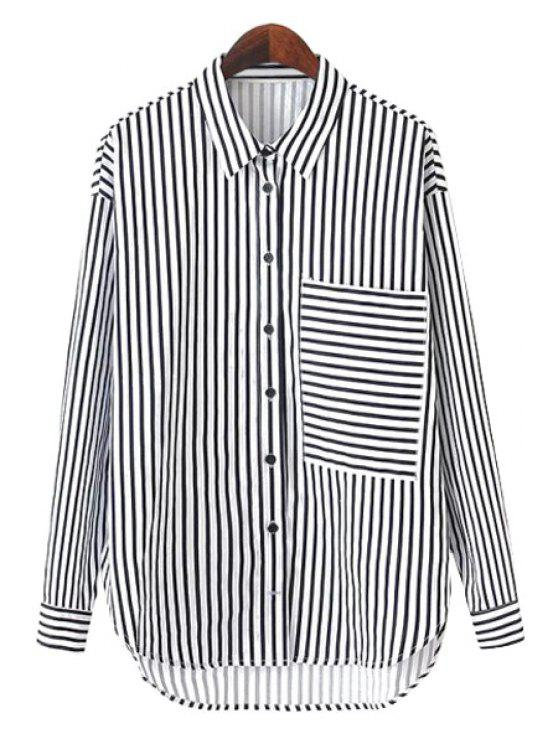 new Stripe Pocket Asymmetrical Shirt - WHITE AND BLACK S
