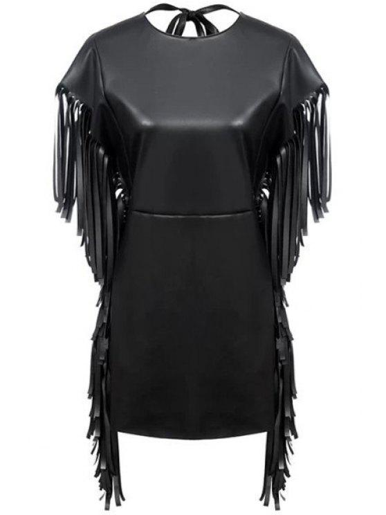 sale Fringe PU Leather Short Sleeve Dress - BLACK S