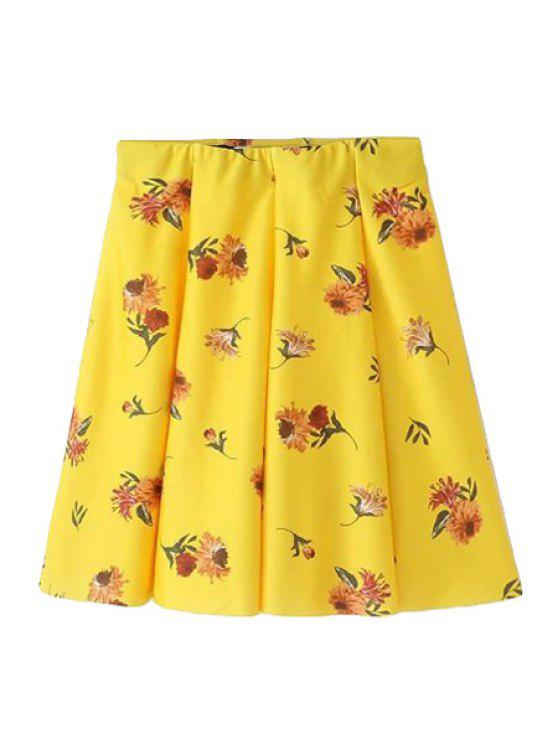 latest Floral Print Ruffle Skirt - YELLOW S