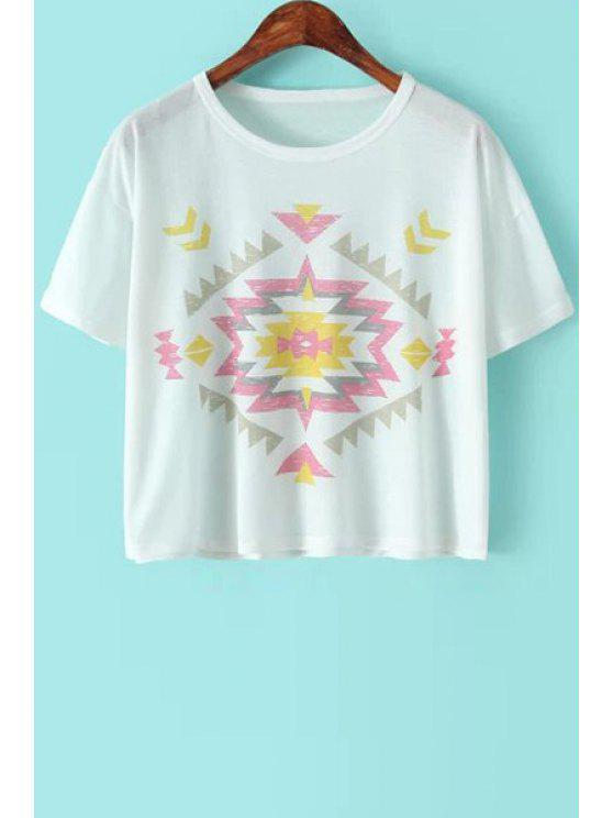 ladies Argyle Pattern Short Sleeve T-Shirt - WHITE ONE SIZE(FIT SIZE XS TO M)