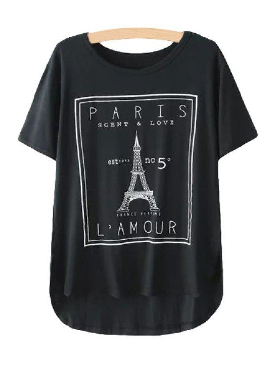 online Eiffel Tower Print Short Sleeve T-Shirt - BLACK ONE SIZE(FIT SIZE XS TO M)