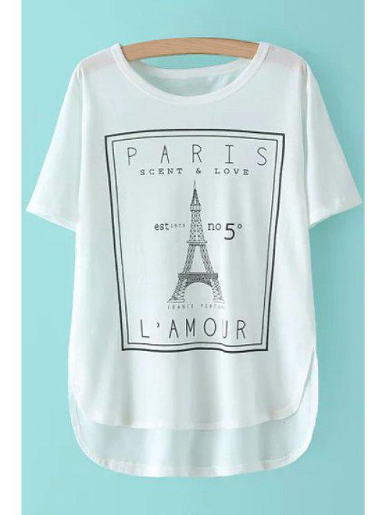 new Eiffel Tower Print Short Sleeve T-Shirt - WHITE ONE SIZE(FIT SIZE XS TO M)