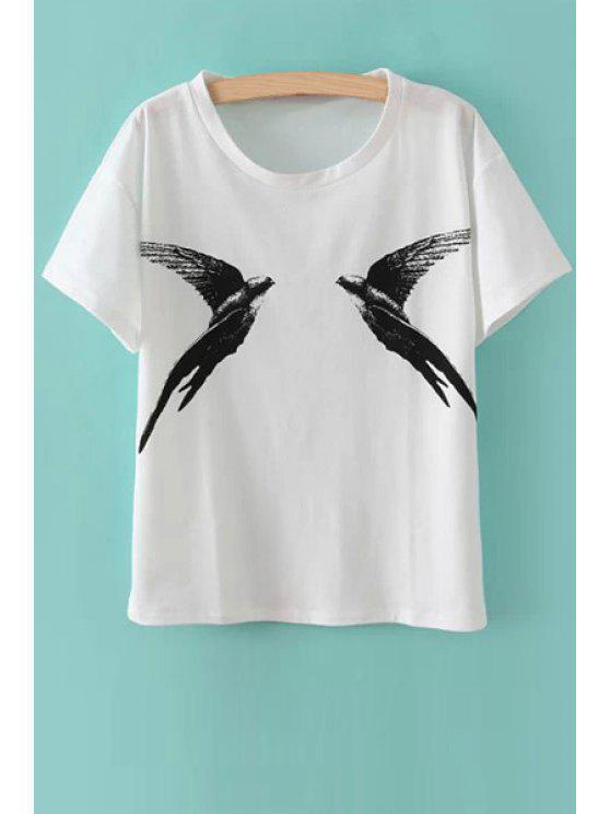 hot Bird Print Short Sleeve T-Shirt - WHITE ONE SIZE(FIT SIZE XS TO M)