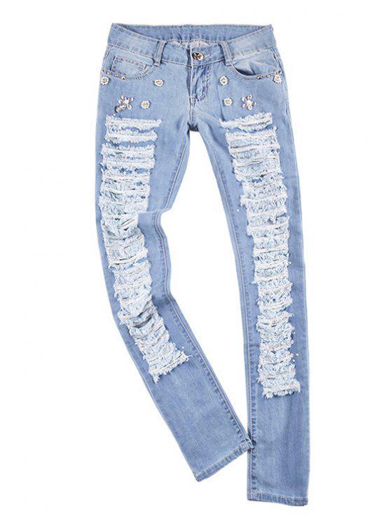 latest Hole Bleach Wash Rhinestone Embellished Jeans - LIGHT BLUE 27