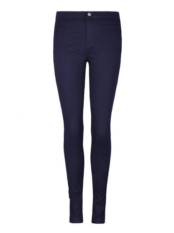 women's Solid Color High Waist Pants - DEEP BLUE 25