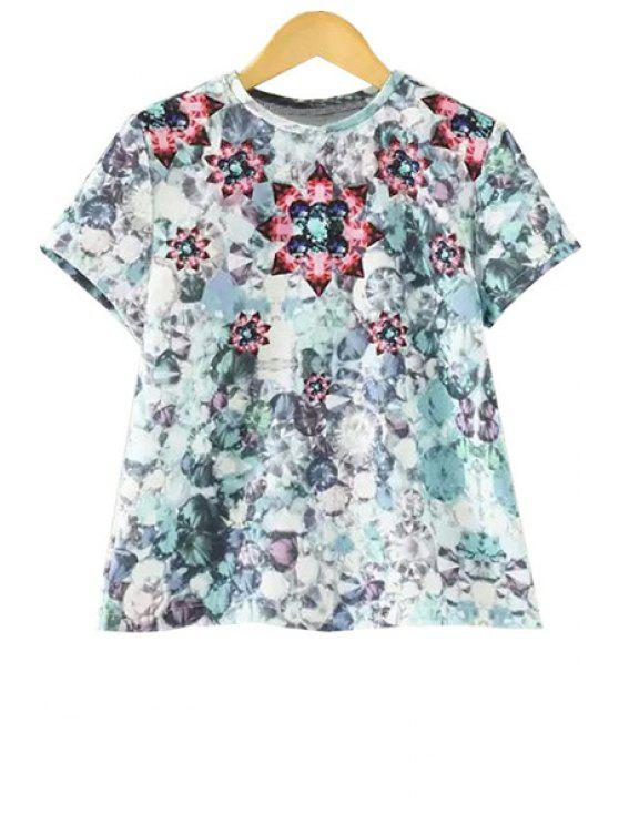 fashion Gemstone Print Short Sleeve T-Shirt - LIGHT BLUE S