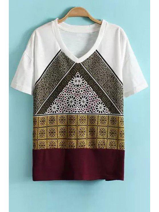 unique Print Splicing V-Neck T-Shirt - WHITE S