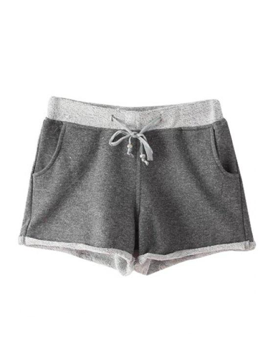 chic Color Block Drawstring Shorts - DEEP GRAY S