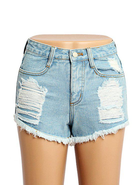 chic Fringe Bleach Wash Shorts - LIGHT BLUE 32