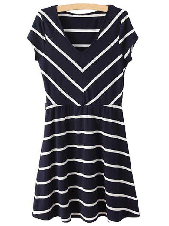 outfits Striped Short Sleeve V-Neck Dress - WHITE AND BLACK S