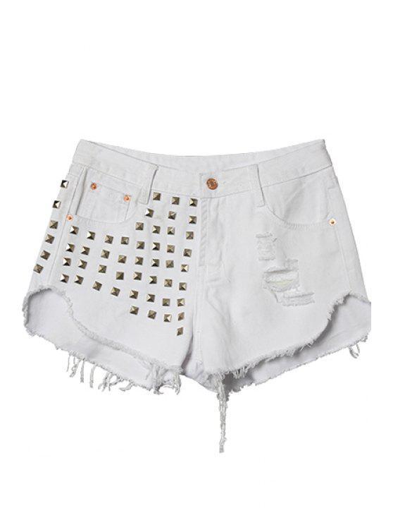 shop Fringe Rivet Shorts - WHITE 32