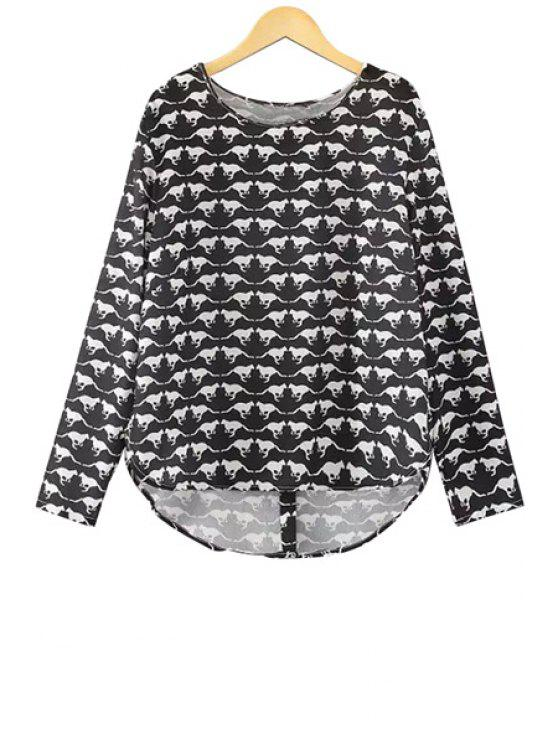 lady Kangaroo Print Long Sleeve Blouse - WHITE AND BLACK S
