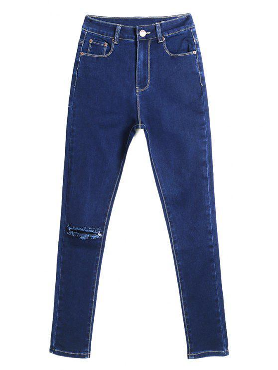 online Hole Solid Color Jeans - DEEP BLUE 34