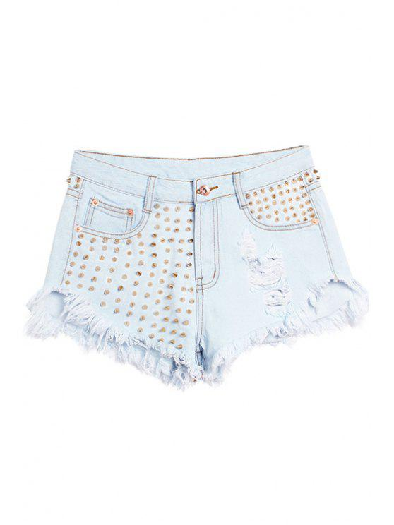 outfits Rivet Fringe Hole Shorts - LIGHT BLUE 32