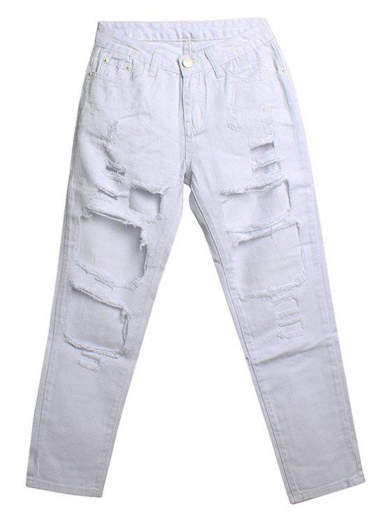 shops Hole Bleach Wash Nine Minutes of Jeans - WHITE 25