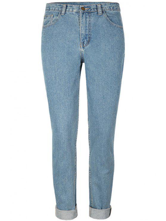 best Straight Bleach Wash Jeans - LIGHT BLUE 24