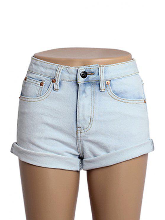 buy Hemming Bleach Wash Shorts - LIGHT BLUE 32