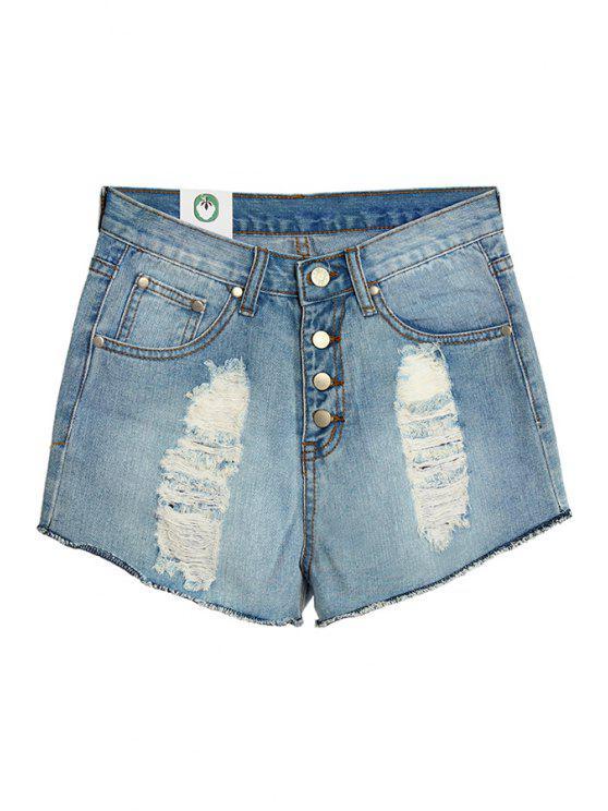 unique Hole Bleach Wash Denim Shorts - LIGHT BLUE S