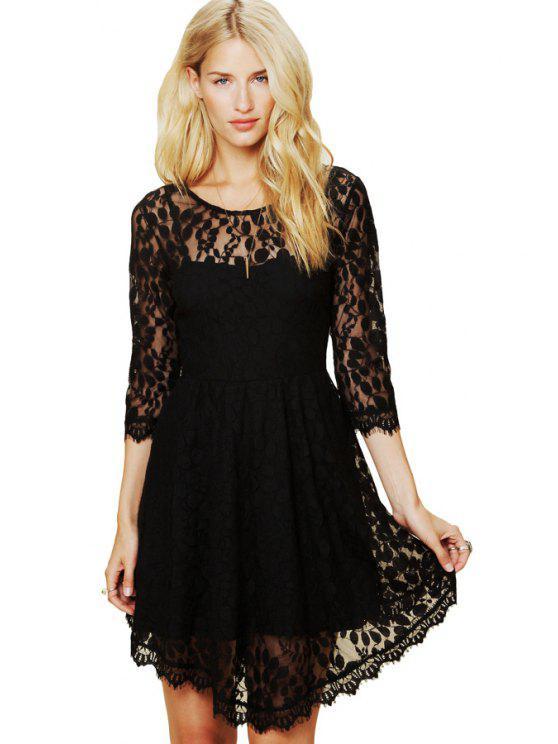 sale Leaf Pattern 3/4 Sleeve Lace Dress - BLACK S
