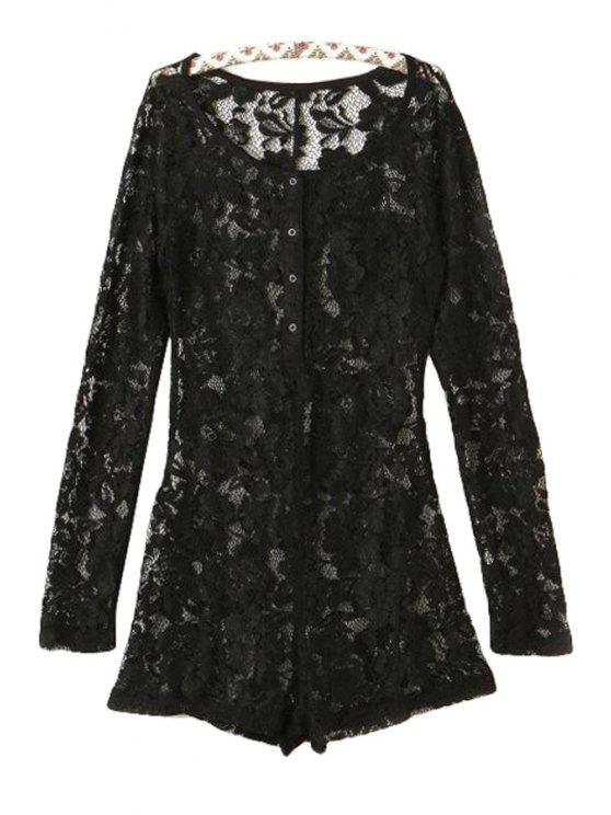 sale Black Lace Long Sleeve Rompers - BLACK S