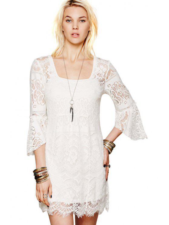 hot Solid Color Lace 3/4 Sleeves Dress - WHITE M