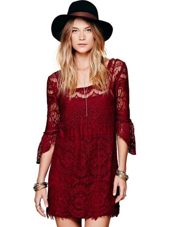 women's Solid Color Lace 3/4 Sleeves Dress - WINE RED S